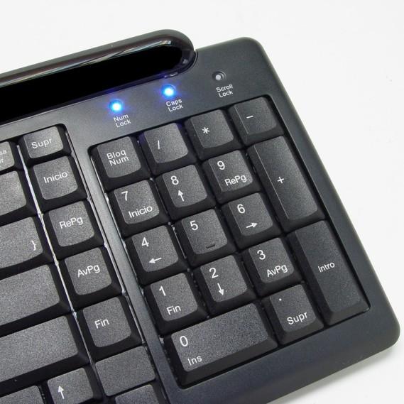 Teclado Perixx 205. Multimedia. USB+PS2. Negro.