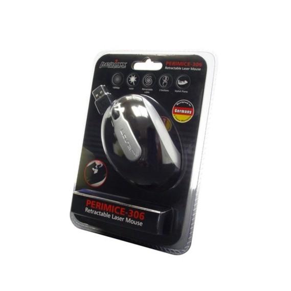Ratón óptico Perixx 201. USB+PS2. Blanco y Plata.