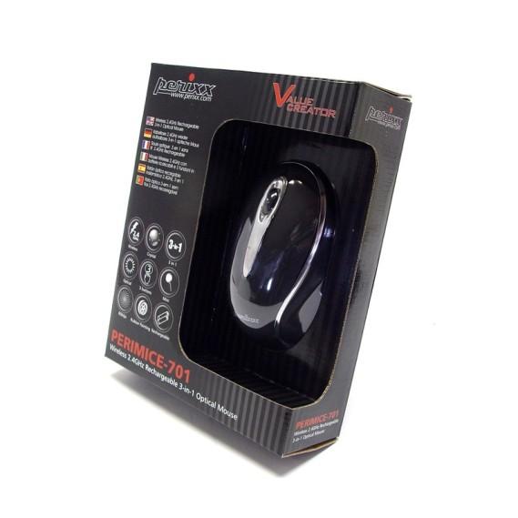 "Ratón óptico Perixx 704. Wireless. Negro. Funda  10"""