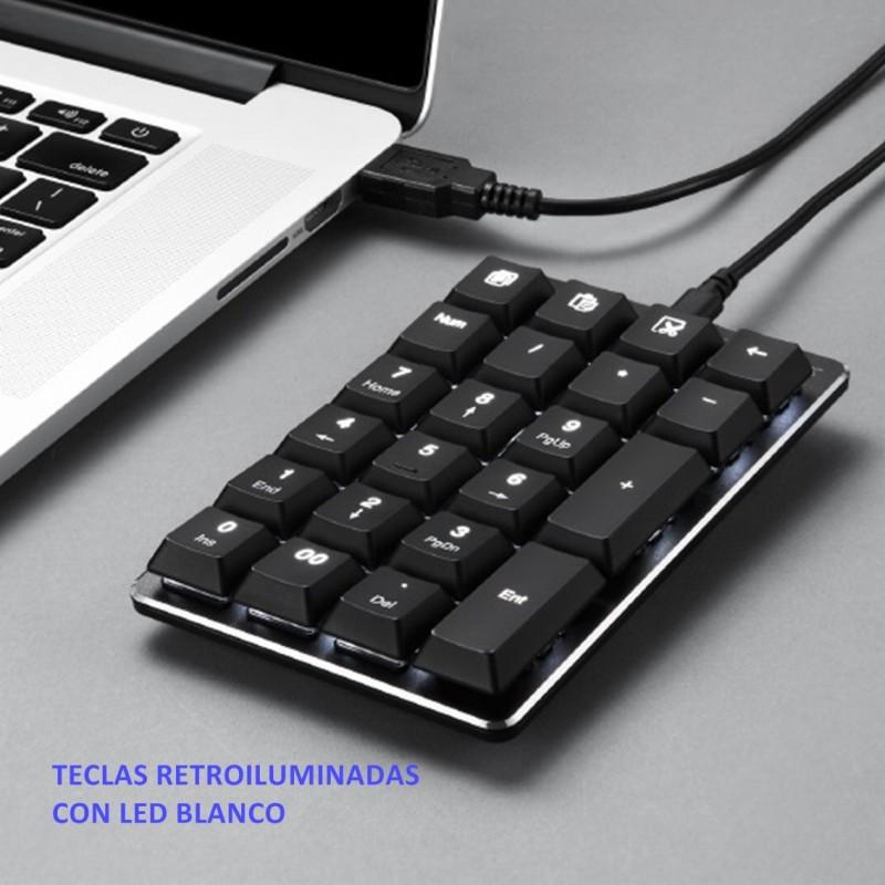 PERIPAD-303B Teclado Numérico. Negro. Teclas retroiluminadas. Detalle uso