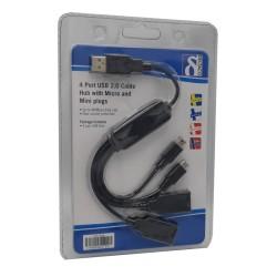 Cable Hub. 4 puertos (2 Tipo A + 1 Mini-B + Micro-B) . Embalaje