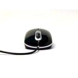 PERIMICE-403 Ratón Mini.  Negro brillo, Vista frontal.