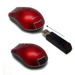 PERIMICE-602 Ratón Mini.  Wireless. Rojo.  Detalle receptor escamoteable