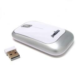 PERIMICE-706 Ratón wireless  Blanco brillo y Plata. Lateral derecho con nano receptor