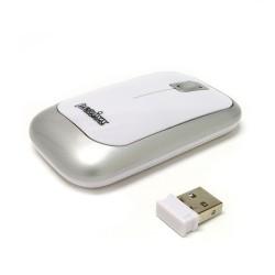 PERIMICE-706 Ratón wireless  Blanco brillo y Plata. Lateral izquierdo con nano receptor