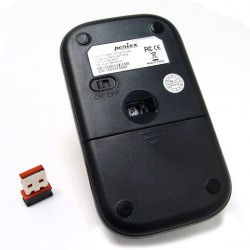 PERIMICE-708 Ratón Wireless. Negro piano/plata. Reverso y receptor USB