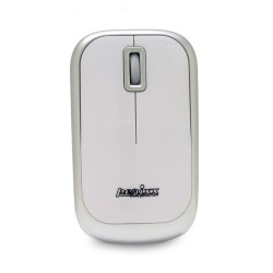 PERIMICE-708 Ratón Wireless. Blanco brillo y plata. Vista frontal