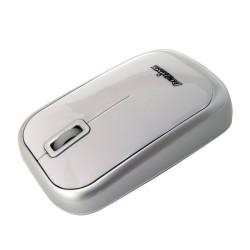 PERIMICE-708 Ratón Wireless. Blanco brillo y plata. Vista lado izquierdo
