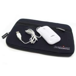 """PERIMICE-208 Ratón Blanco. Detalle  Funda 10"""" y cable USB"""