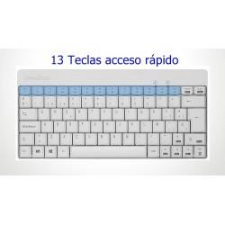 PERIDUO-712 Blanco. Wireless. . Teclado, detalle teclas acceso rápido